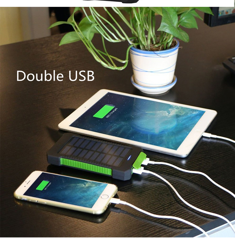 Waterproof 30000mAh Solar Power with USB Ports and LED Light for Smartphone Charging 8