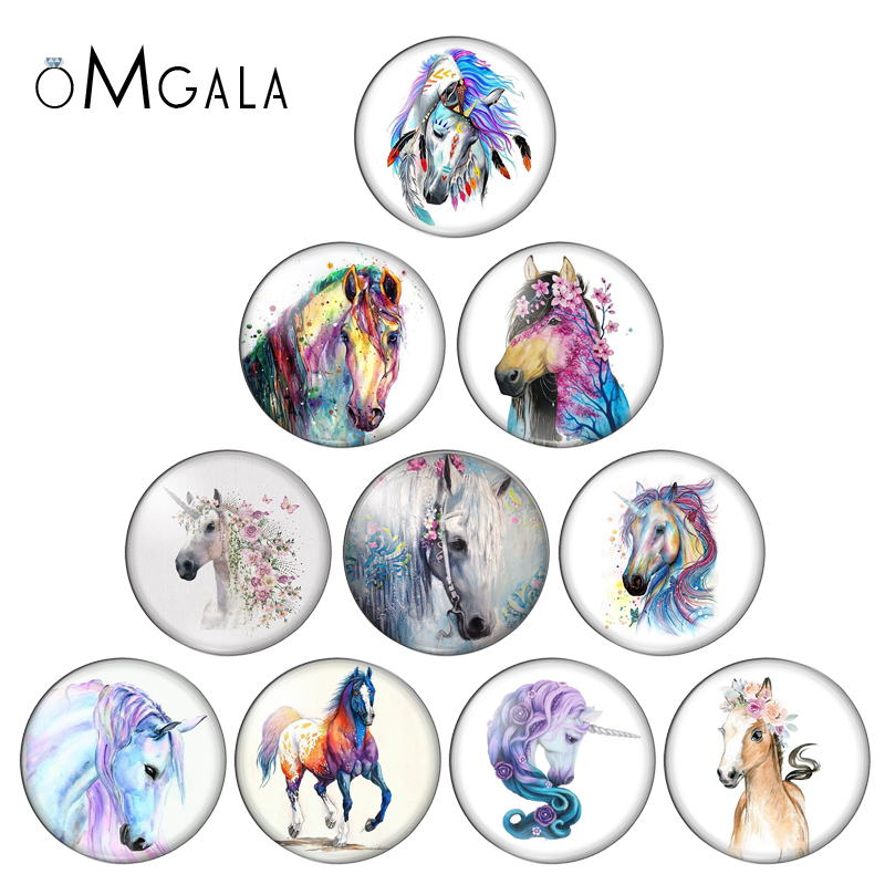Horse Drawing 10pcs Round 8mm-30mm Snap Buttons Photo Glass Cabochon For Snap Jewelry Bracelets Necklace Wholesale