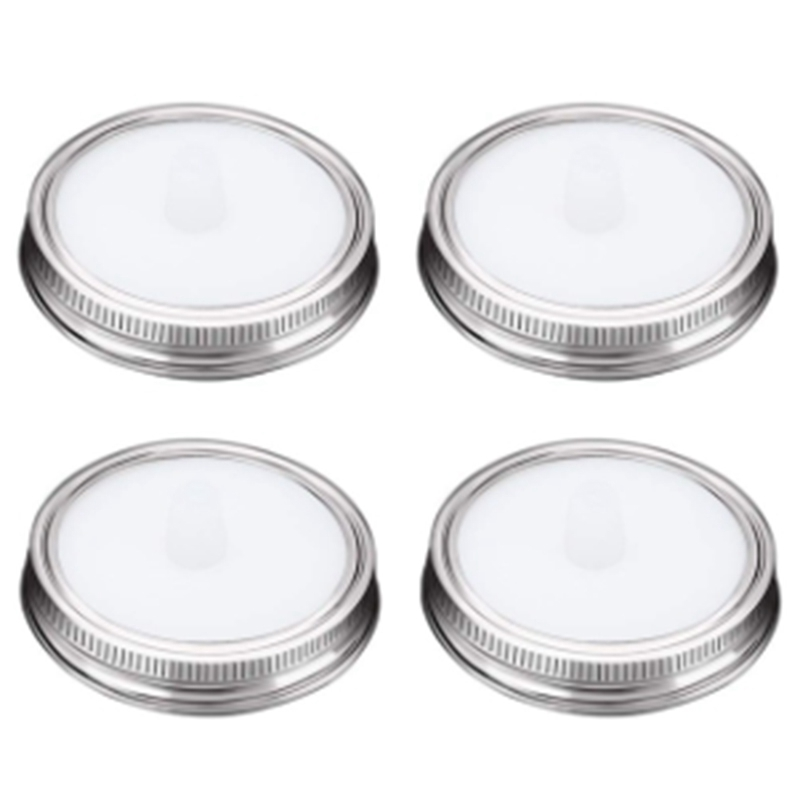 4Pcs Waterless White Food Grade Silicone Fermentation Airlocks Lids Fermenting Covers Kit Bands For Wide Mason Jars Sealing Leak