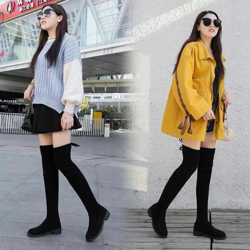 Boyutu 35-41 Sıcak Kış Diz Çizmeler Üzerinde Kadın Streç Kumaş Uyluk Yüksek Seksi Kadın Ayakkabı Uzun Bota feminina zapatos de mujer
