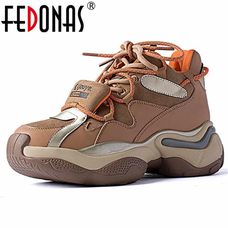 FEDONAS moda Flats platformu hakiki deri Euro tarzı kadın Sneakers çapraz bağlı rahat kadın daireler rahat ayakkabılar kadın