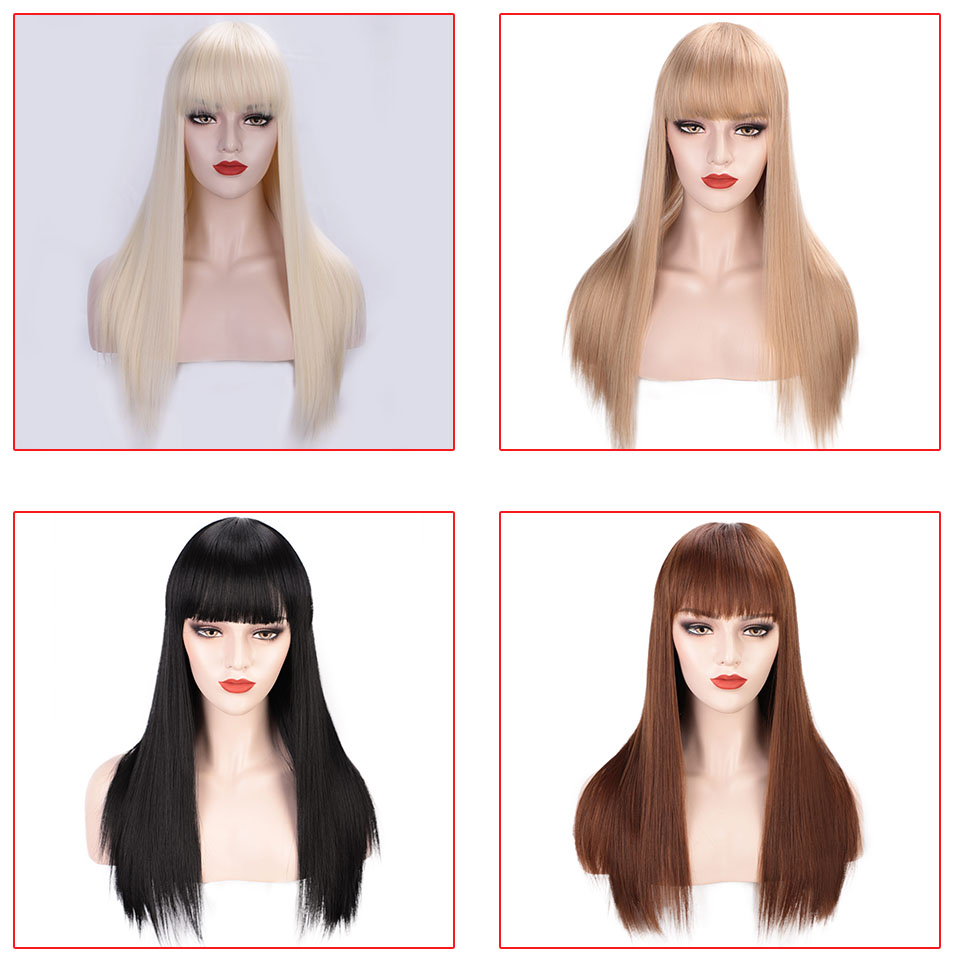 22'' Long Straight 613 Blonde Synthetic Wigs With Bangs for Women Cosplay Hair wig Heat Resistant Black Hairpiece I's a wig