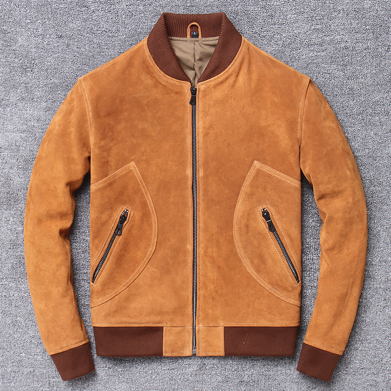 Winter New Leather Jacket Men's Short Baseball Uniforms Youth Motorcycle Clothing First Layer Leather Suede Monclaire Jacket