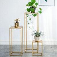 Nordic ouro planta de metal estande interior flor branca suporte de metal ao ar livre prateleira de metal casa varanda decorações metal jardim decorações|Prateleiras de plantas| |  -