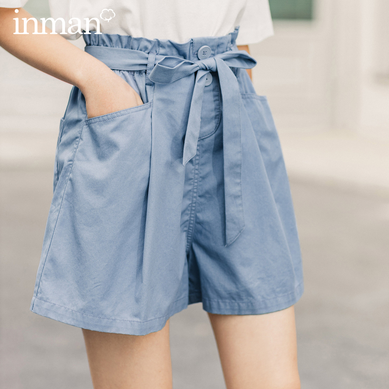 INMAN 2020 Summer New Arrival Lace-up Bow High Waist A-line Slimmed Sweet Japan Style Loose Pant