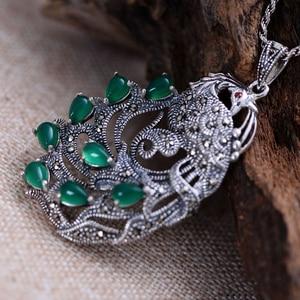Image 5 - Gerçek saf 925 ayar gümüş tavuskuşu doğal taş kolye kadınlar için kakma yeşil kalsedon markazit