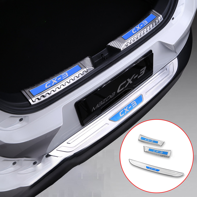 Stainless Steel Car Trunk Door Sill Plate Rear Bumper Guard Protector Pads For <font><b>Mazda</b></font> <font><b>CX3</b></font> CX-3 2016 2017 2018 2019 <font><b>Accessories</b></font> image