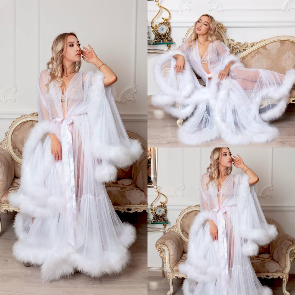 White Night Gown Cassandra Robe Luxury Fur Nightgown Bathrobe Sleepwear Bridal Robe Dressing Gown Boudoir Dress