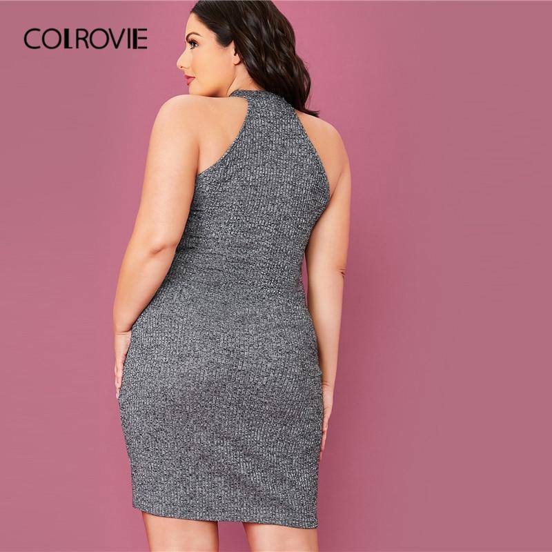 COLROVIE Plus Size Solid Rib-knit Halter Bodycon Dress Women Sleeveless Sexy Mini Dress 2020 Summer High Stretch Grey Dresses 1