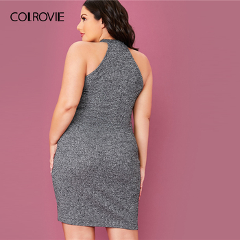 COLROVIE Plus Size Solid Rib-knit Halter Bodycon Dress Women Sleeveless Sexy Mini Dress 2020 Summer High Stretch Grey Dresses 1