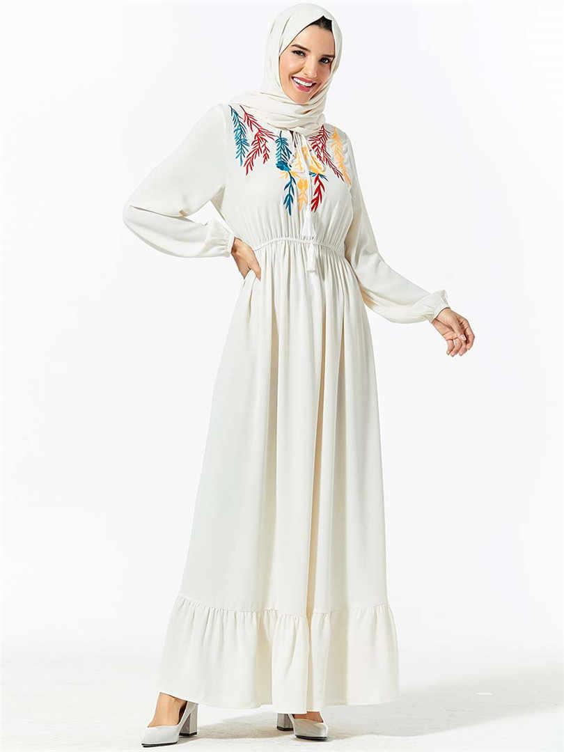 לבן העבאיה דובאי טורקיה חיג 'אב מוסלמית בגדים אסלאמיים נשים קפטן קפטן Robe Musulmane האיסלאם רקמה ארוך שרוול