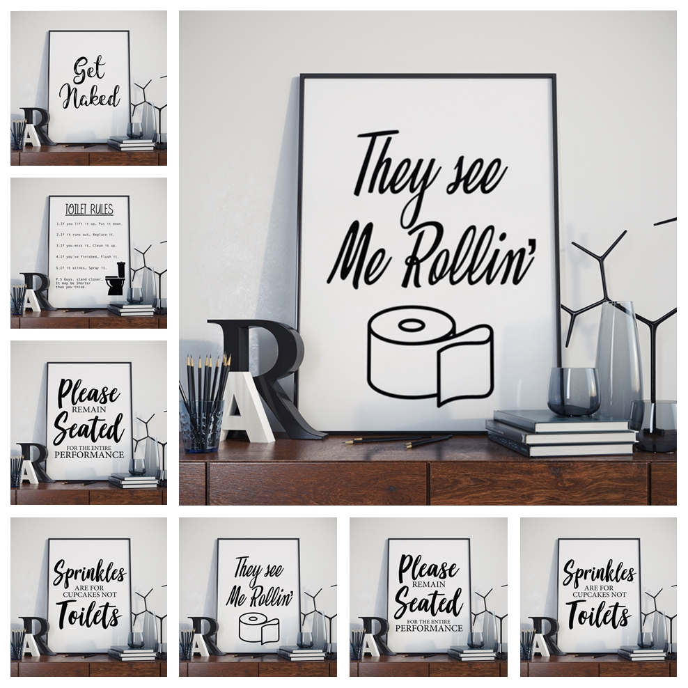 Nordic Black White Funny Bathroom Rules Sign Art Decor Picture Quality Canvas Painting Poster Home Decor Toilet Wall Decor M756 Hot Promo 0c9cc0 Cicig