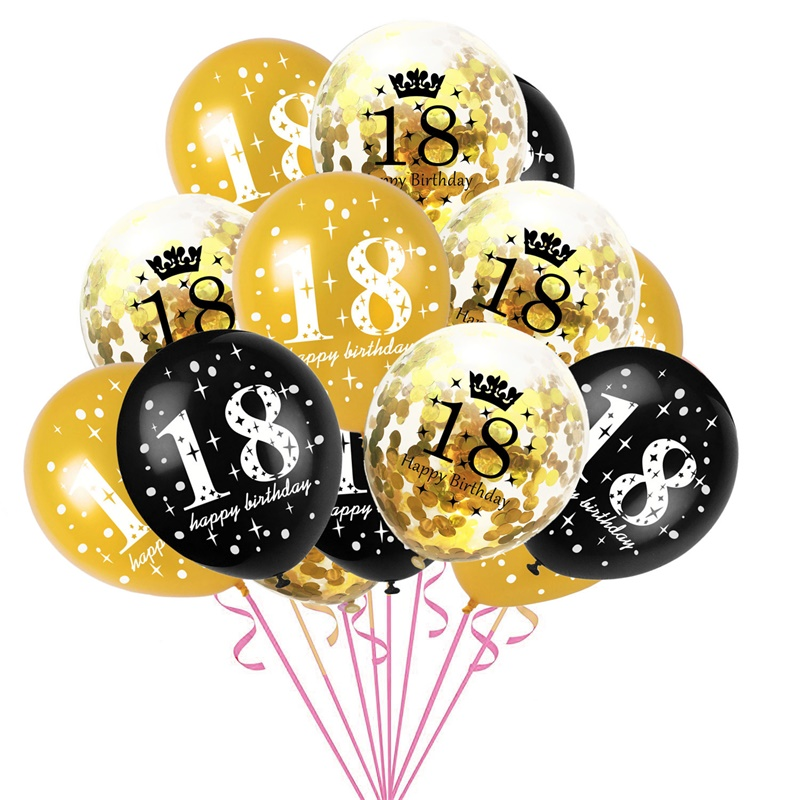 15pcs 12inch Number Balloons Latex Balloon Gold Black 18 <font><b>30</b></font> 60 Digital Globos Wedding <font><b>Birthday</b></font> Party <font><b>Decoration</b></font> Balloon Air Ball image