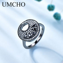 UMCHO Fashion Round Black Ring Real 925 Sterling Silver Jewelry Gemstone Rings For Women Party Gift Fine Jewelry(China)