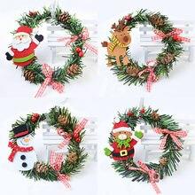 1Pcs 13cm Weihnachten Girlande Ornament Girlande Kranz DIY Chrismtas Party Tür Wand Hängende Dekoration Weihnachten Ornament Navidad