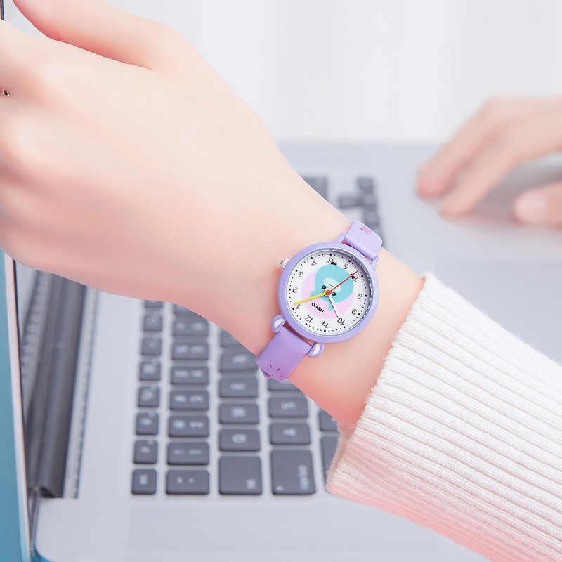 KDM Cartoon enfants montre mode décontracté enfants mignon en acier inoxydable montre à Quartz fille violet Bracelet montres cadeau Relojes