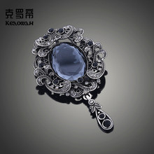 retro crystal chest pendant  brooch jewelry luxury christmas gifts for women metal pins