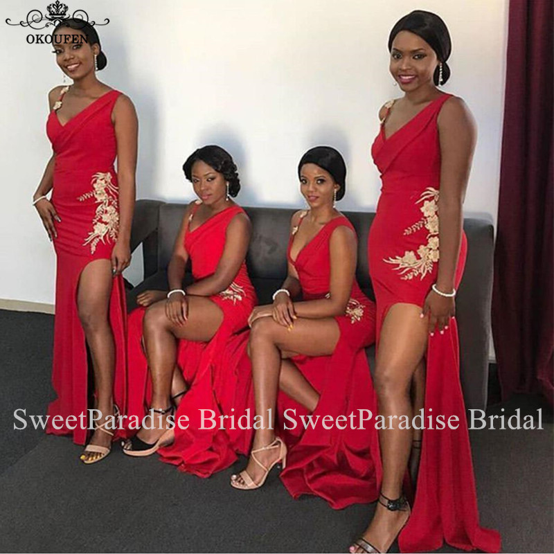 Red Side Split Bridesmaid Dresses With Gold Appliques Mermaid Long Vestido Madrinha Maid Of Honor Wedding Guest Dress