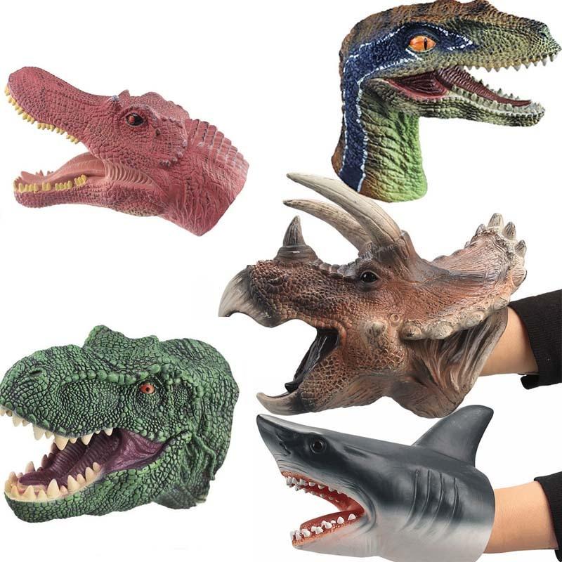 Динозавр, ручная кукла, забавная игрушка, мягкая искусственная голова животного, ручная кукла, игрушка, перчатки, Детская модель, рождествен...