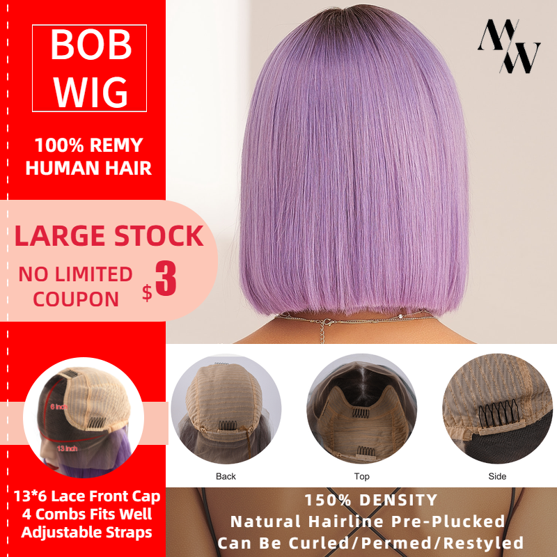 MW Remy Human Hair Half Lace Frontal Bob Wigs 12 Inches 30cm Short Colorful Wig Pre Plucked For Women Fast Delivery