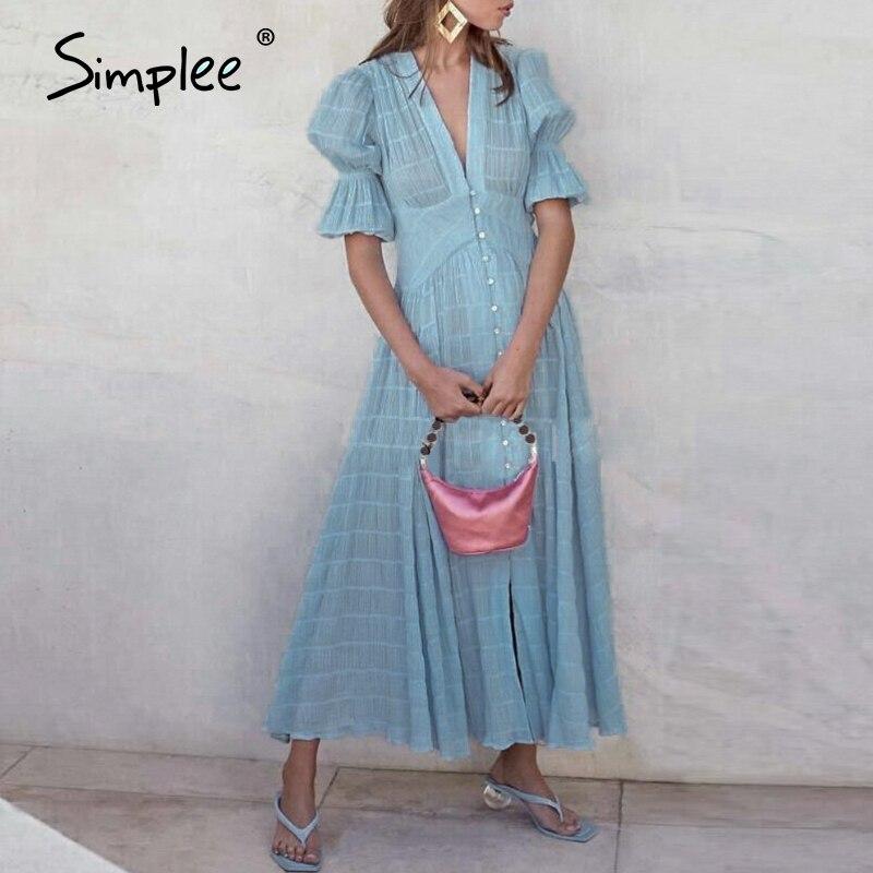 Simplee Elegant Striped Maxi Dress Women Ruffled High Waist Buttons Party Summer Dress Deep V-neck Zip Holiday Boho Dress 2020