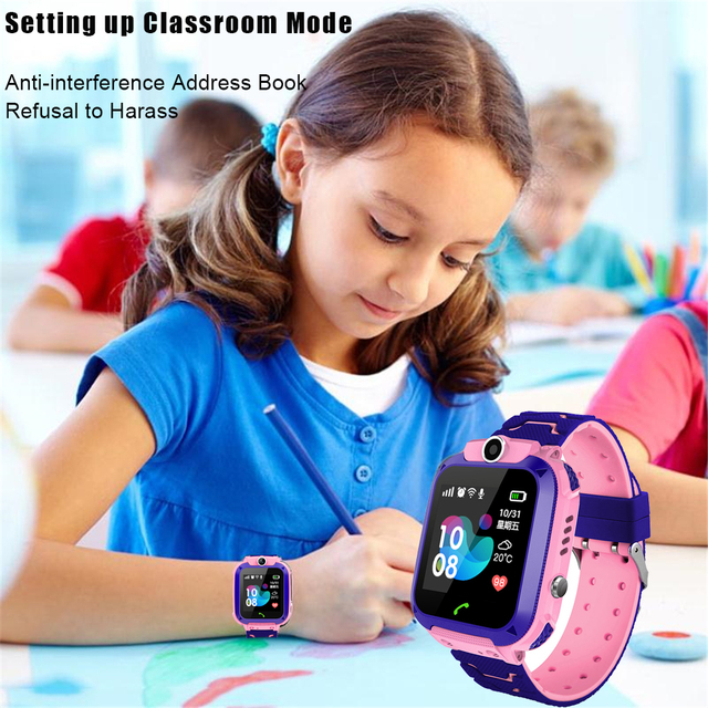Q12 Kids Smart Watch SOS Phone Watch Smartwatch Kids 2G Sim Card Smart Phone IP67 Waterproof Children's Smart Watch Gift Clock 5