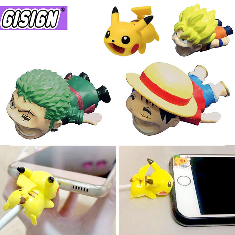 Cute Cable Bite Protector Line For Iphone Accessory Cartoon Protege Anime One Peace Dragon Ball Cable Biters Doll Funny Toys