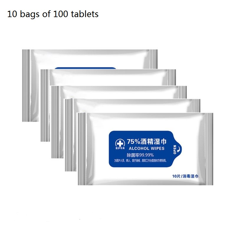 100 Sheets/10 Bags Portable 75% Alcohol Wet Wipes Disposable Hand Cleaning Sanitizing Antiseptic Sterilization Disinfection No-W