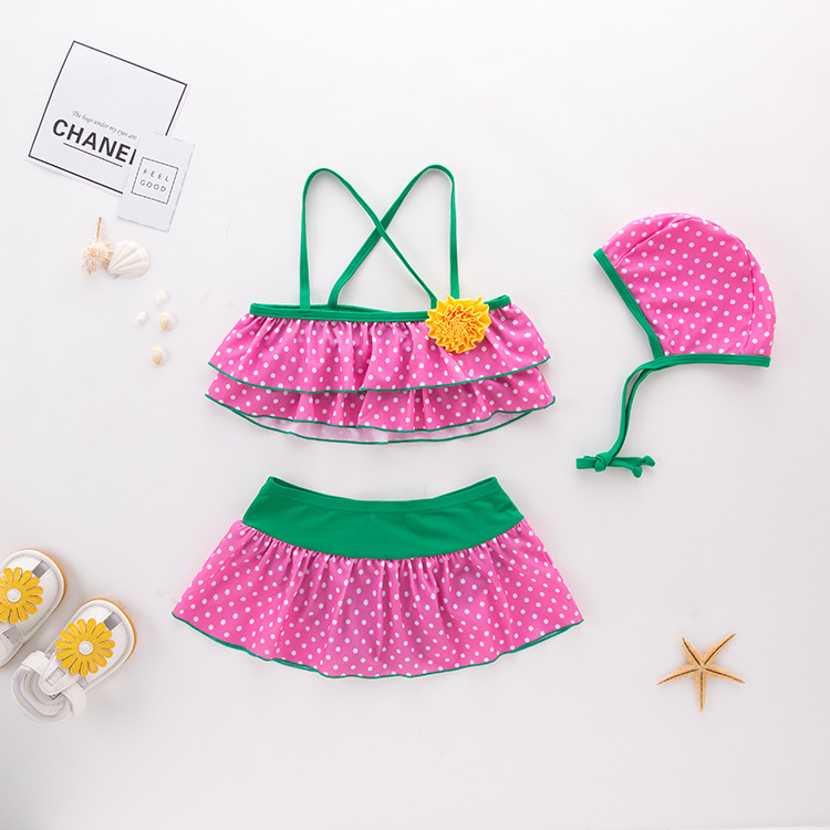 Girls' Two-piece Swimsuit Pink Dotted Flower-KID'S Swimwear Hot Springs Clothing