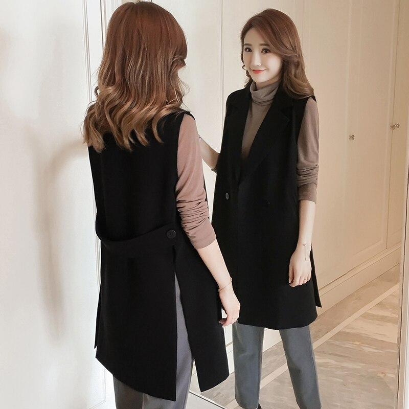 New Korean Fashion Split Long Women's Vest Spring Elegant Black Sleeveless Jacket Female Solid Cardigan Waistcoat Vests Colete