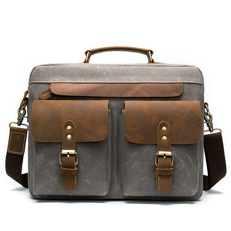 New Fashion Handbag Leather With Cloth Briefcase Retro Business 14 Inch Computer Men's Bag A Hair Substitute 9772