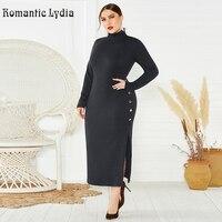 Knitted Long Winter Dress 2019 Women Split Button Long Sleeve Turtleneck Dress Plus Size