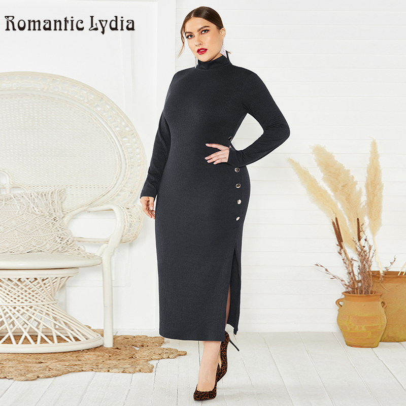 US $37.6 |Knitted Long Winter Dress 2019 Women Split Button Long Sleeve  Turtleneck Dress Plus Size-in Dresses from Women\'s Clothing on AliExpress