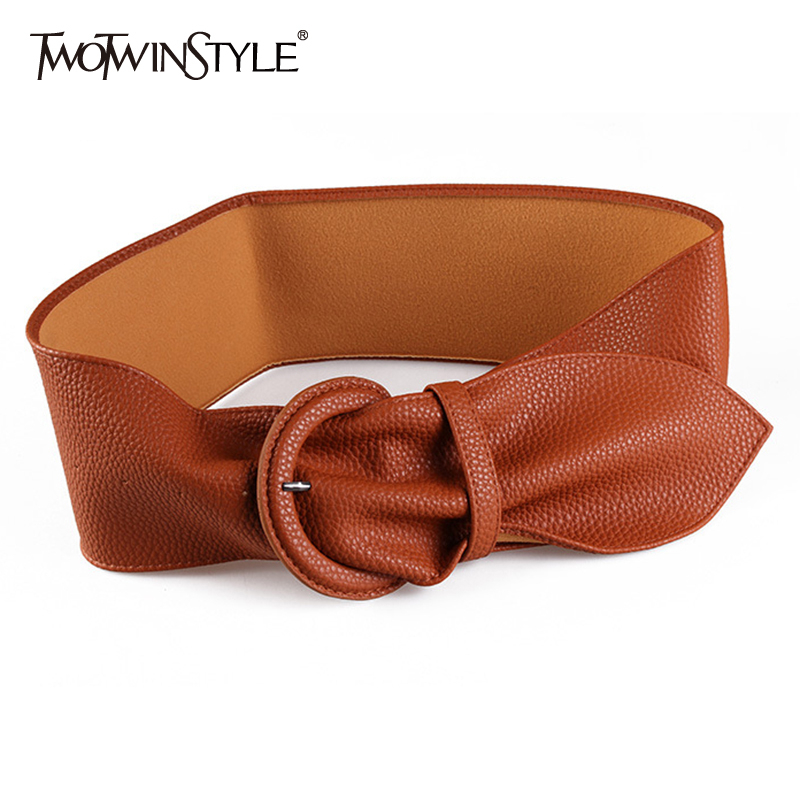 TWOTWINSTYLE High Waist Slim Belt Women Solid Wide Korean Style Belts Vintage Dresses Accessories Female 2019 Summer Fashion New