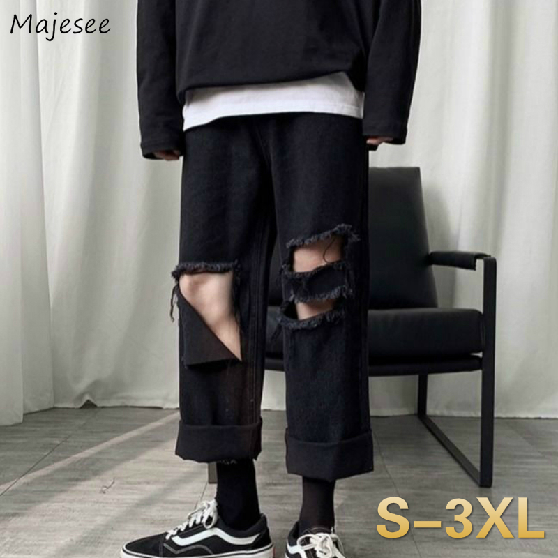 Men Jeans Summer Holes Ankle-length Tassel Solid Denim Trousers Chic Mens Harajuku Hip-hop Plus Size 3XL Loose Retro All-match