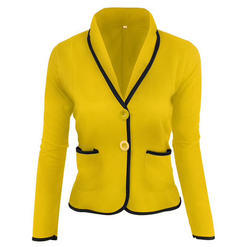 Preppy Style Slim Ladies Blazer Autumn Casual Long Sleeve V-neck Button Pocket Female Crop Top Elegant Women Coat Plus Size 6XL
