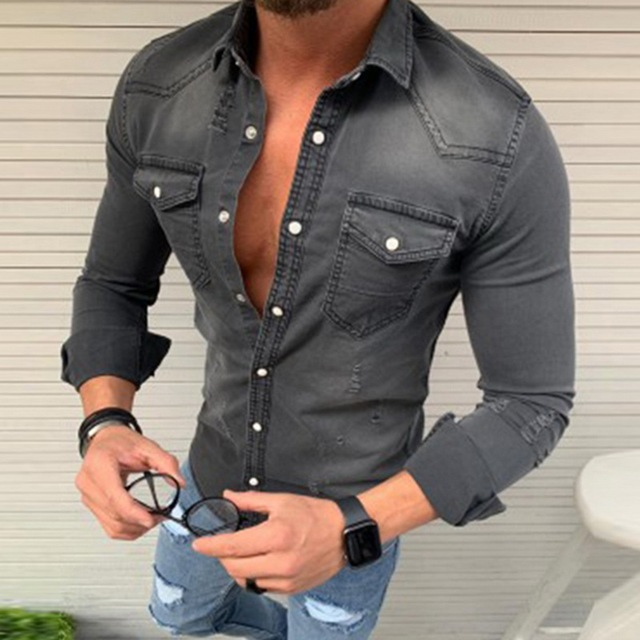 Denim Wash Long Sleeve Shirt 5