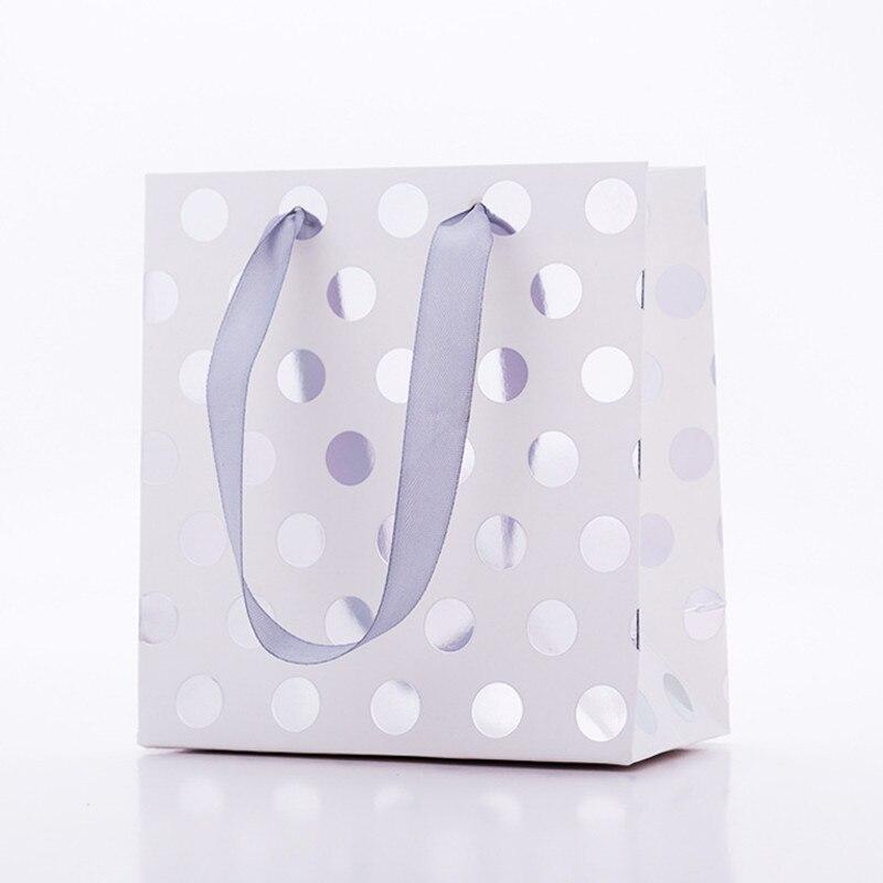 En gros 20 pcs/lot or/argent points sacs cadeaux avec poignées sac en papier Kraft Mini présent sac pour bijoux/parfums paquet cadeau - 5