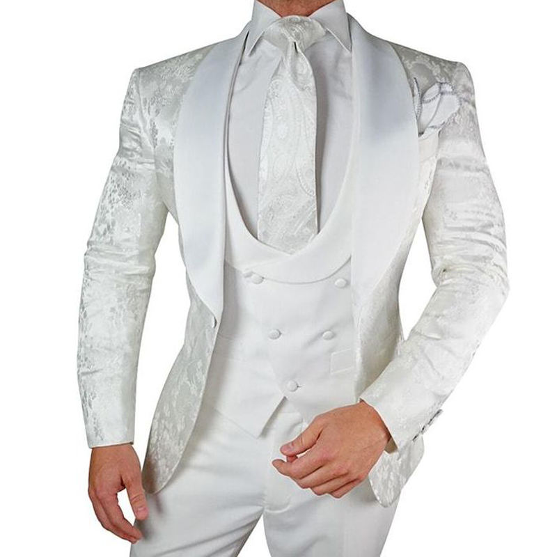 White Floral Wedding Tuxedo for Groom 3 Pieces Slim Fit Men Suits with Satin Shawl Lapel Custom Male Fashion Costume Jacket Vest