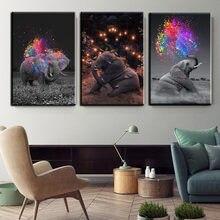 Красочные животные искусство играть слон Холст Плакаты принты