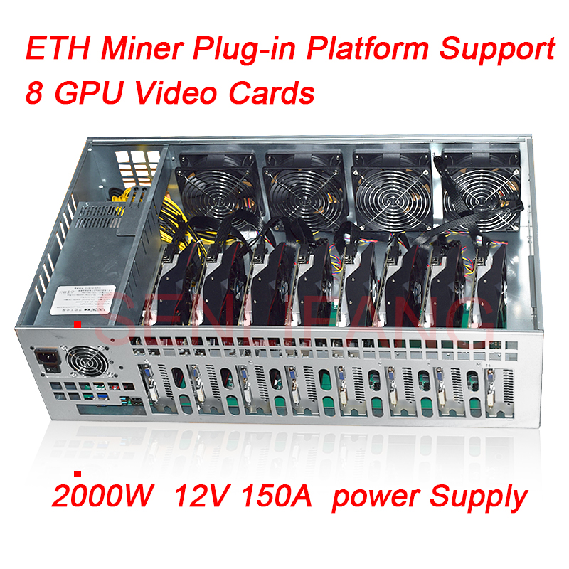8 Graphics Card ETH Mining platform B85M Motherboard 65MM Card distance Thickened Electrolytic Board Chassis 2000W Power Supply