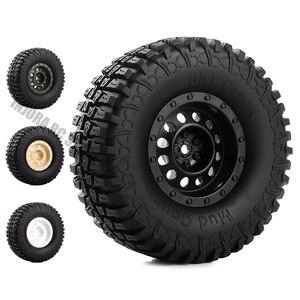 Image 1 - 1.9 inch 4Pcs/Set Rubber Tires&Plastic Wheel Rim for 1:10 RC Rock Crawler Axial SCX10 90046 AXI03007 Tamiya CC01 D90