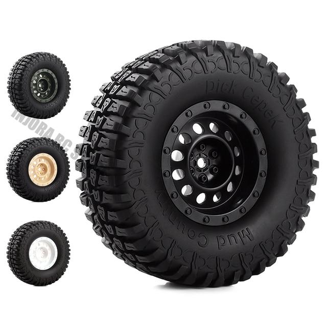 1.9 inch 4Pcs/Set Rubber Tires&Plastic Wheel Rim for 1:10 RC Rock Crawler Axial SCX10 90046 AXI03007 Tamiya CC01 D90