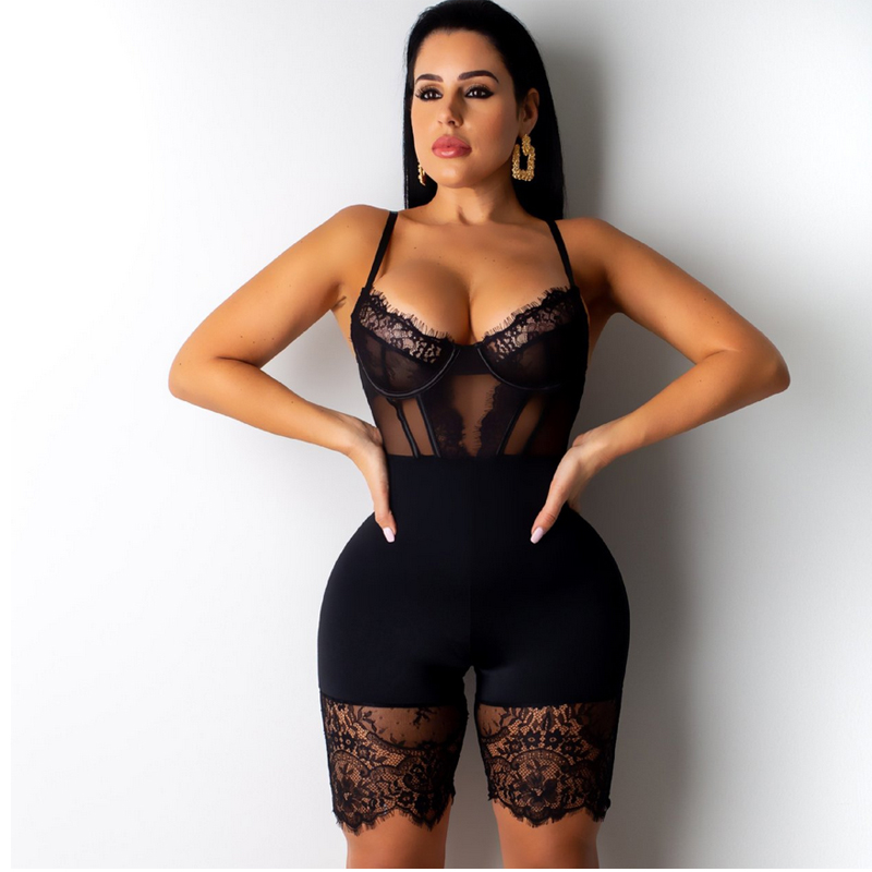 Meihuida Women Sexy Sleeveless Backless Strappy Strapless Skinny Soft Elastic Mesh Lace High Waist Playsuit