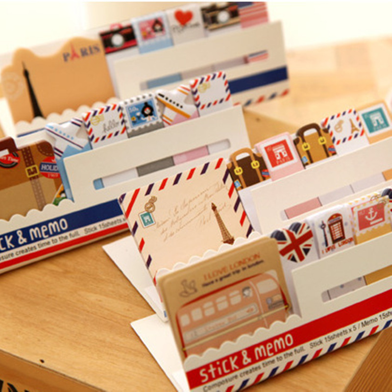 4pcs Vintage Stick & Memo Sheets Sticker Travel London Bus Paris Tower Post Paper Note It Marker Stationery Office School A6511