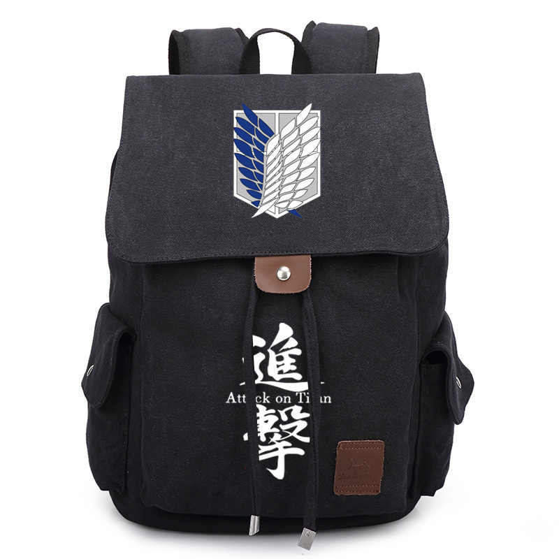 Anime Attack on Titan Cosplay Survey Corps Backpack Satchel Student Back Pack Bookbag Purse Cartoon Canvas Drawstring School Bag