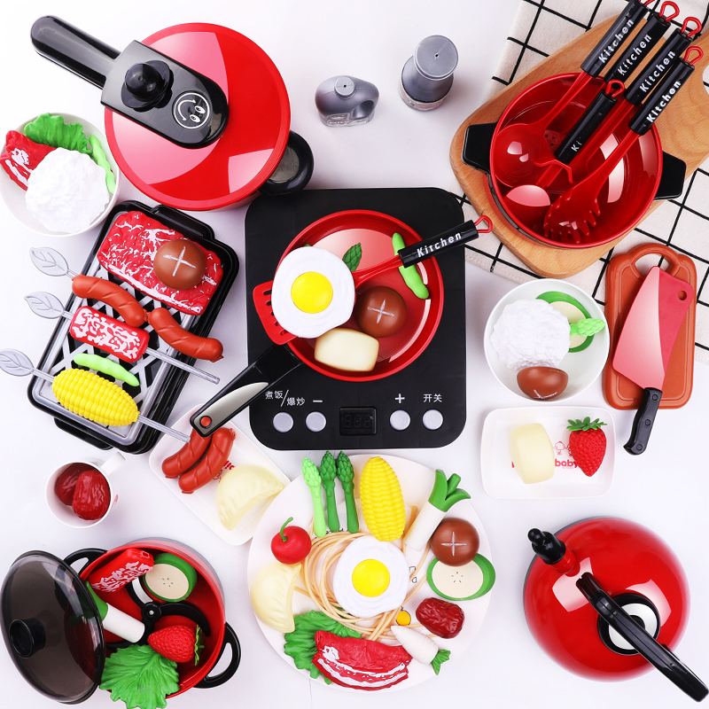 56Pcs Mini Kitchen Toys For Children Miniature Food Cookware Set Pot Pan Kids Cook  Play House Toy Gift For Girl Boy Kids
