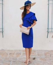 Королевский синий атлас мать из невесты платья плюс размер одно плечо короткие рукава крутые длина женщины свадьба вечеринка платья