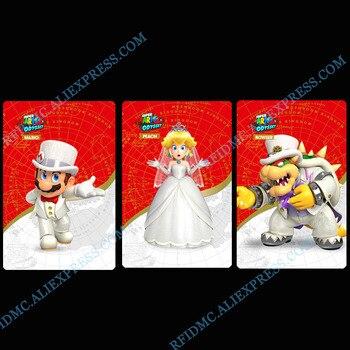 Mario Odyssey TARJETA DE Amiibo para interruptor 3DS boda melocotón Mario Bowser...