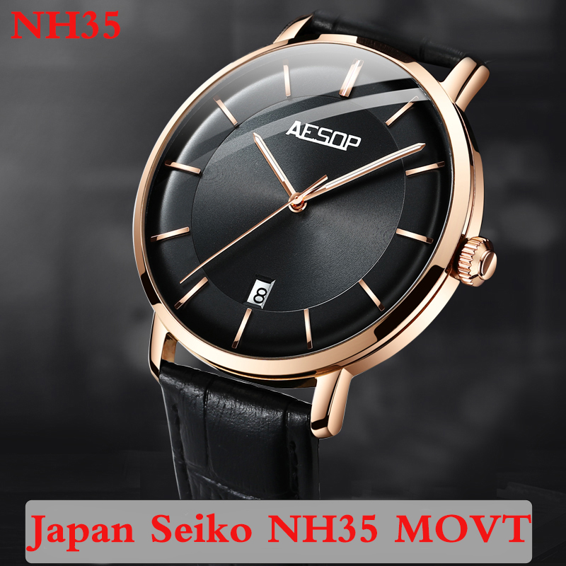 Aesop 2020 Automatic Watch Men Japan NH35 Movement  Luminous Mechanical Watches Calendar Top Brand Luxury Relogio Masculino